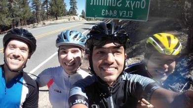 Joey, Evelyn, Alex, and Ziwei on a strenuous bike ride in Big Bear, Lab Retreat 2017