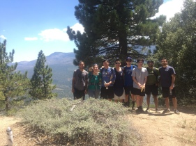 Alex, Evelyn, Ziwei, Xiang, Joey, Ryan, Arjun, and Garri on a strenuous hike in Big Bear, Lab Retreat 2017