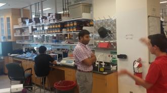 Keoni explaining an idea to Rishi, 2015