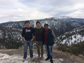Ziwei, Xiang, and Pratik on the way up to our lab retreat, 2016
