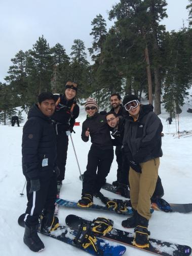 Pratik, Chang, Xiang, Alex, Muaeen, and Ziwei on Big Bear Mountain, Lab Retreat 2016