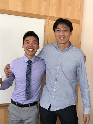 Xiang and Chang after Xiang successfully defends his thesis!