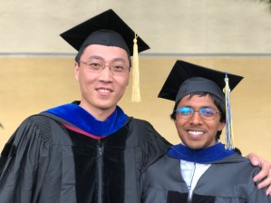 Chang and Arjun at commencement, 2018