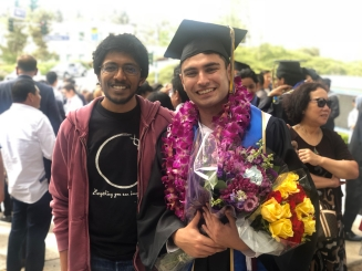 Arjun and Eamon at commencement, 2018